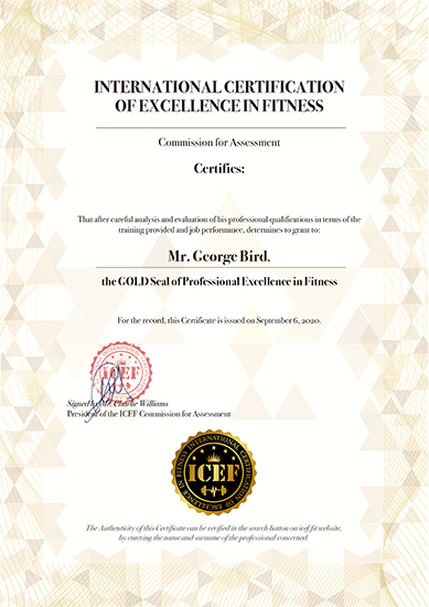 certificate of international certification of excellence in fitness